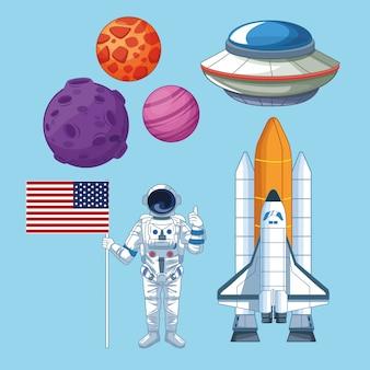 Espaço e astronauta conjunto de ícones