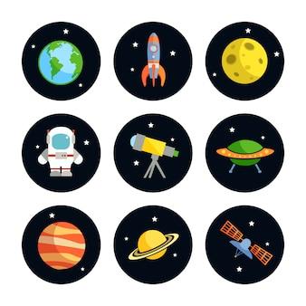 Espaço e astronomia rodada conjunto de elementos de astronauta terra lua foguete isolado ilustração vetorial