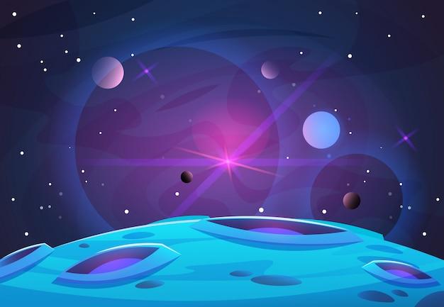 Espaço e planeta fundo. planetas superfície com crateras estrelas e cometas no espaço escuro