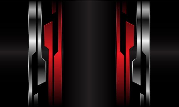 Espaço em branco cinza escuro abstrato na linha metálica cibernética preta prata vermelha futurista.
