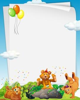 Espaço em branco com muitos ursos pardos em tema de festa