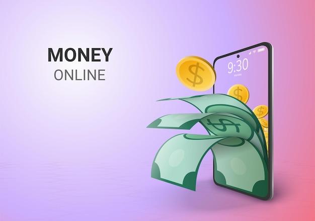 Espaço em branco do conceito de poupança ou depósito de dinheiro digital online no telefone