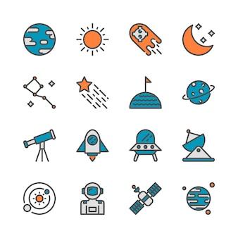 Espaço em design de ícone de colorline