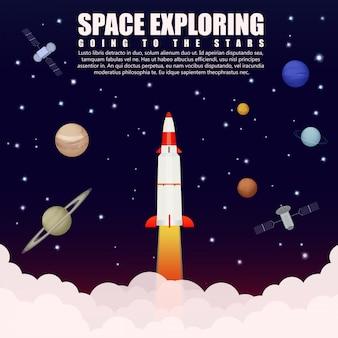 Espaço explorando pesquisa. lançamento do foguete