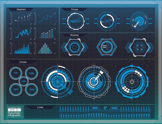 Espaço exterior do fundo hud. elementos infográfico. dados digitais, abstrato de negócios. elementos de infográfico interface de usuário futurista.
