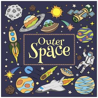 Espaço exterior doodles, naves espaciais, planetas, estrelas, foguete