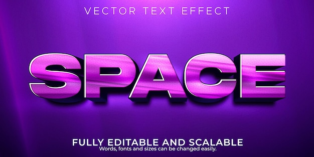 Espaço futuro texto editável efeito brilhante e elegante estilo de texto