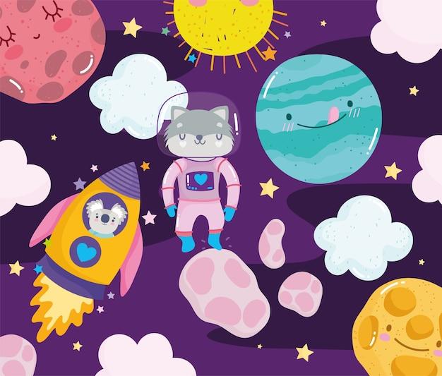 Espaço guaxinim astronauta foguete planeta sol e nuvens aventura galáxia ilustração dos desenhos animados