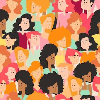 Espaço lotado com rostos de mulheres individuais