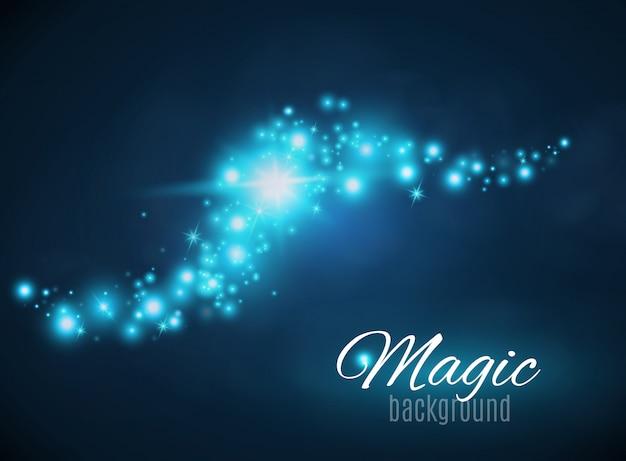 Espaço mágico. pó de fada. infinidade. fundo abstrato do universo. fundo azul e estrelas brilhando.