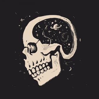 Espaço na cabeça do crânio