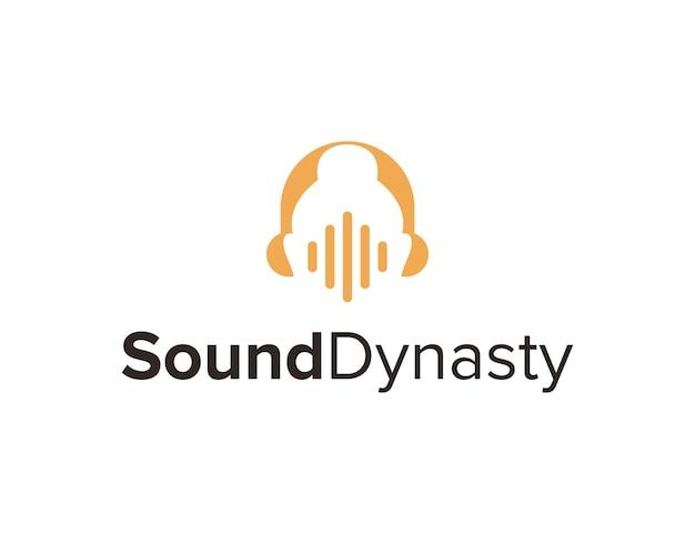 Espaço negativo buda com fone de ouvido e onda sonora simples, criativo, geométrico e moderno, design de logotipo