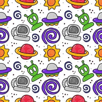 Espaço no padrão sem emenda de estilo doodle sobre fundo azul.