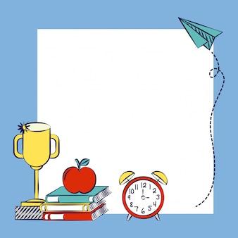 Espaço para inserir texto ou design, recursos gráficos de volta às aulas