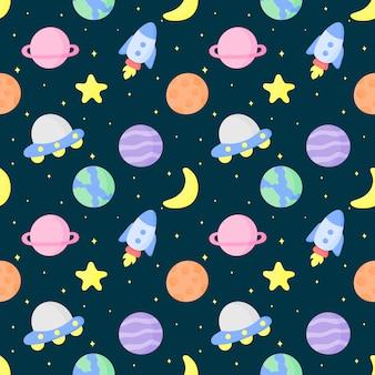 Espaço sem costura padrão dos desenhos animados e planetas