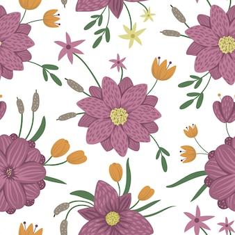 Espaço sem emenda floral do vetor. ilustração plana na moda com flores, folhas, ramos, nenúfares. padrão de repetição com pântano, bosques, plantas florestais.