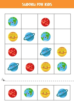Espaço sudoku para crianças em idade pré-escolar. jogo lógico com planetas do sistema solar kawaii.
