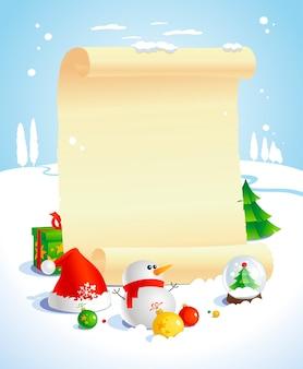 Espaço vazio de natal com rolo de papel e paisagem de inverno