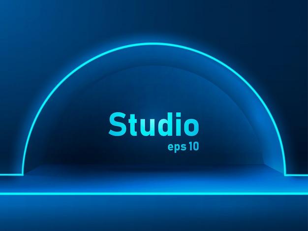 Espaço vazio estúdio iluminado a neon azul escuro para exibir