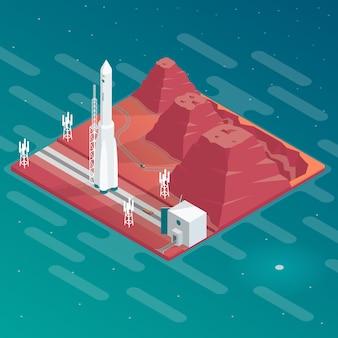 Espaçoporto isométrico com foguete com montanhas.