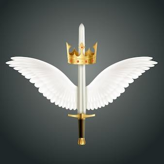 Espada acompanhada por asas e ilustração de coroa