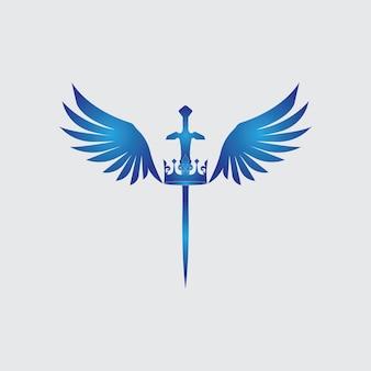 Espada com asas e imagem vetorial de rei