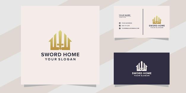 Espada com modelo de logotipo para casa