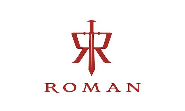 Espada com o logotipo inicial de r roman