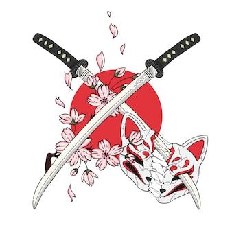 Espada de ilustração desenhada à mão e máscara de estilo japonês