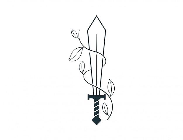 Espada e ilustração da natureza