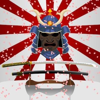 Espada japonesa katana e samurai fighter mask