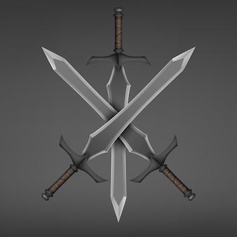 Espada medieval de três cruzadas isolada em fundo escuro