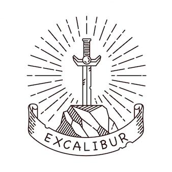 Espada na ilustração da linha de pedra