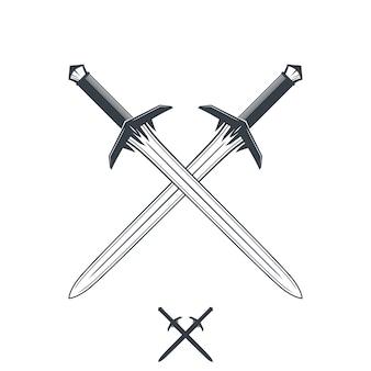 Espadas cruzadas em branco, contorno e silhueta, ilustração