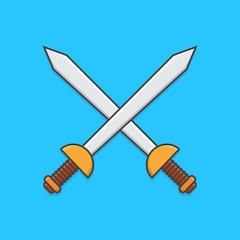 Espadas cruzadas isoladas em azul