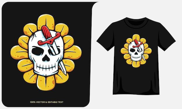 Espadas de cabeça de crânio em ilustração de girassol e design de camisetas