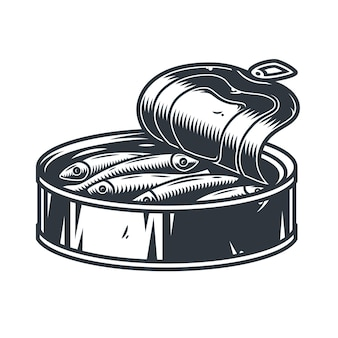 Espadilha de atum em lata Vetor Premium