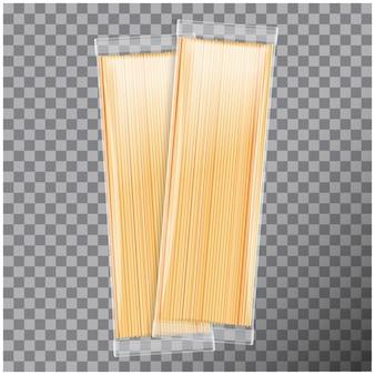 Espaguete, pacote transparente de macarrão capellini, em fundo transparente. modelo