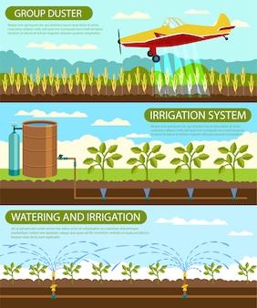 Espanador liso do grop da bandeira e sistema de irrigação.