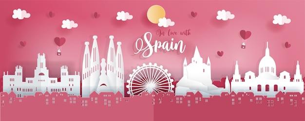 Espanha em estilo de origami de papel