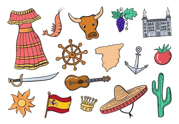 Espanha país país doodle conjunto desenhado à mão coleções com estilo de contorno plano