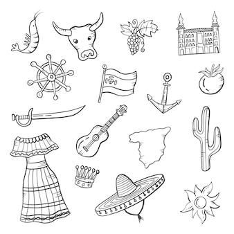 Espanha país país doodle conjunto desenhado à mão coleções com ilustração em vetor contorno estilo preto e branco