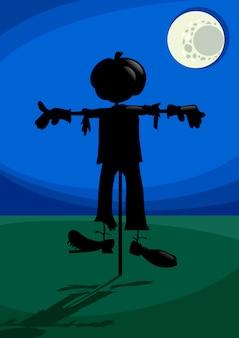Espantalho à noite ilustração dos desenhos animados