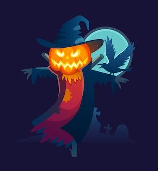 Espantalho assustador com um corvo no ombro.