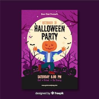 Espantalho com abóbora cabeça halloween festa flyer