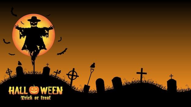 Espantalho com cartão de cemitério do dia das bruxas