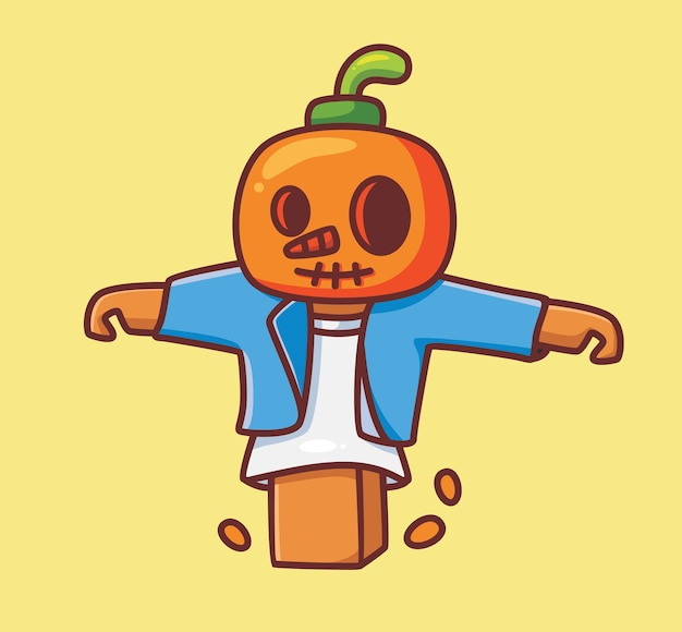 Espantalho fofo no campo. ilustração de halloween animal isolada dos desenhos animados. estilo simples adequado para vetor de logotipo premium de design de ícone de etiqueta. personagem mascote