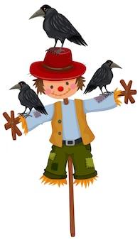 Espantalho na vara e três corvos