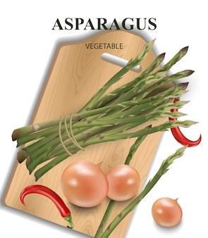 Espargos, pimenta e cebola na tábua de madeira. comida saudável ilustração vetorial para menu, impressão, rótulo, folhetos