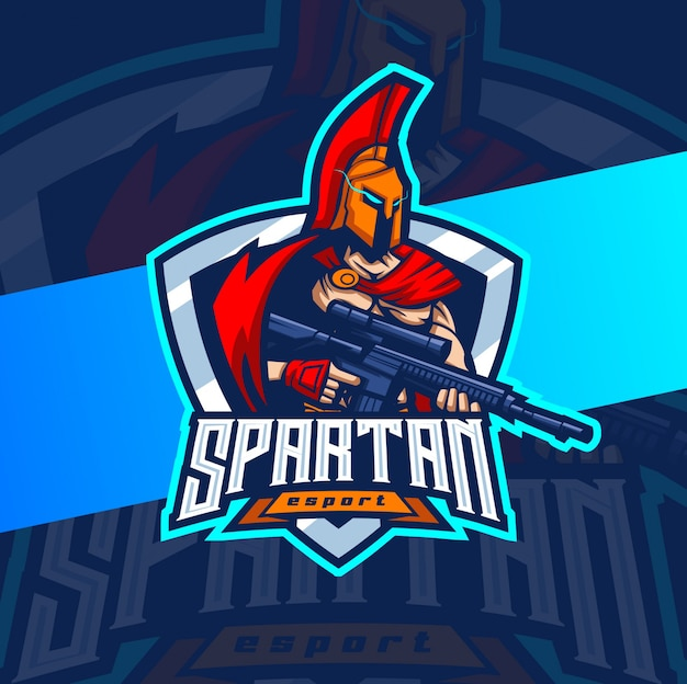 Espartano com arma mascote esport design de logotipo